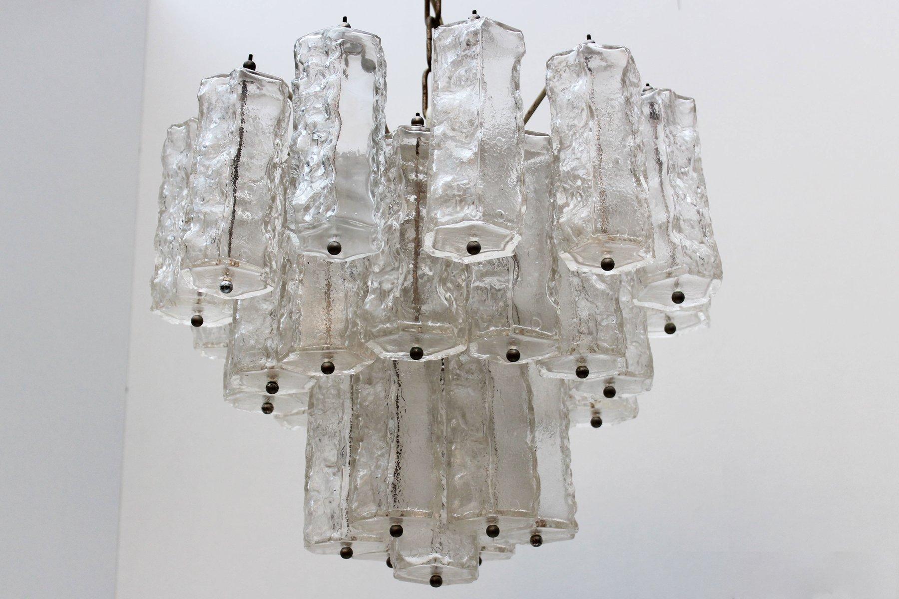 Italienischer Mid-Century Eisglas Kronleuchter von Paolo Venini, 1960e...