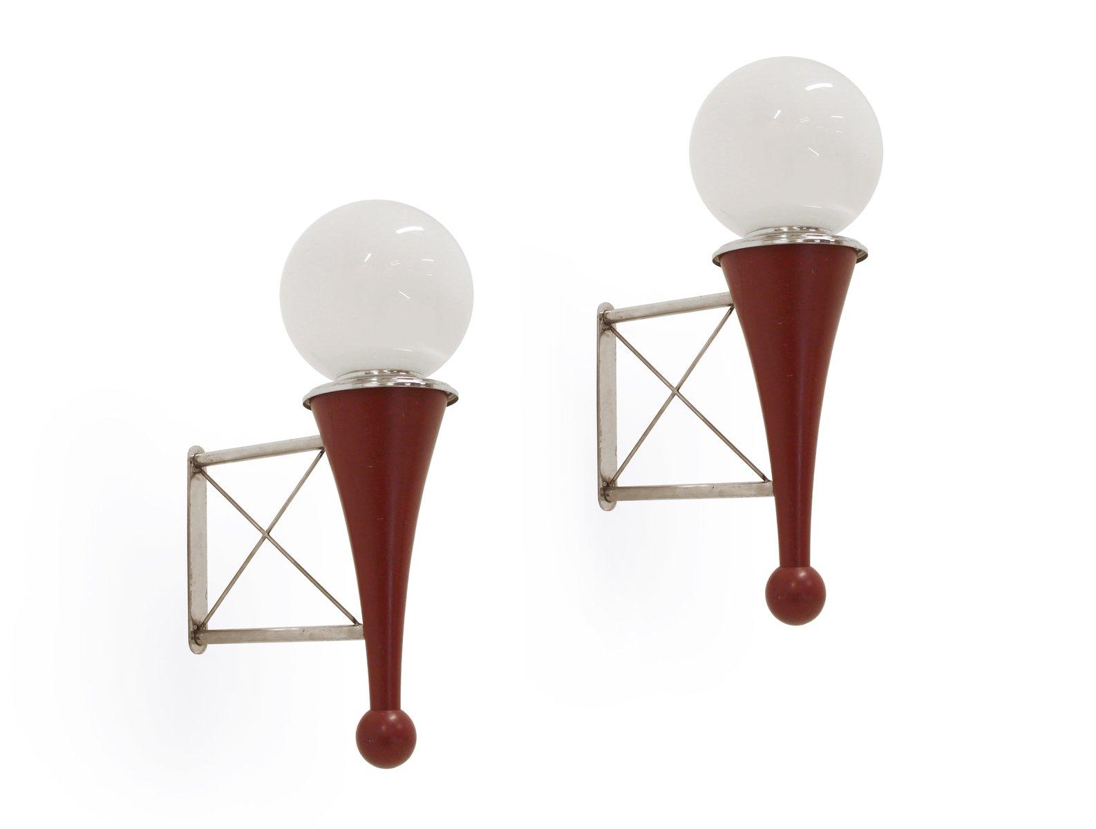 Mid-Century Holz, Chrom und Glas Wandlampen, 2er Set