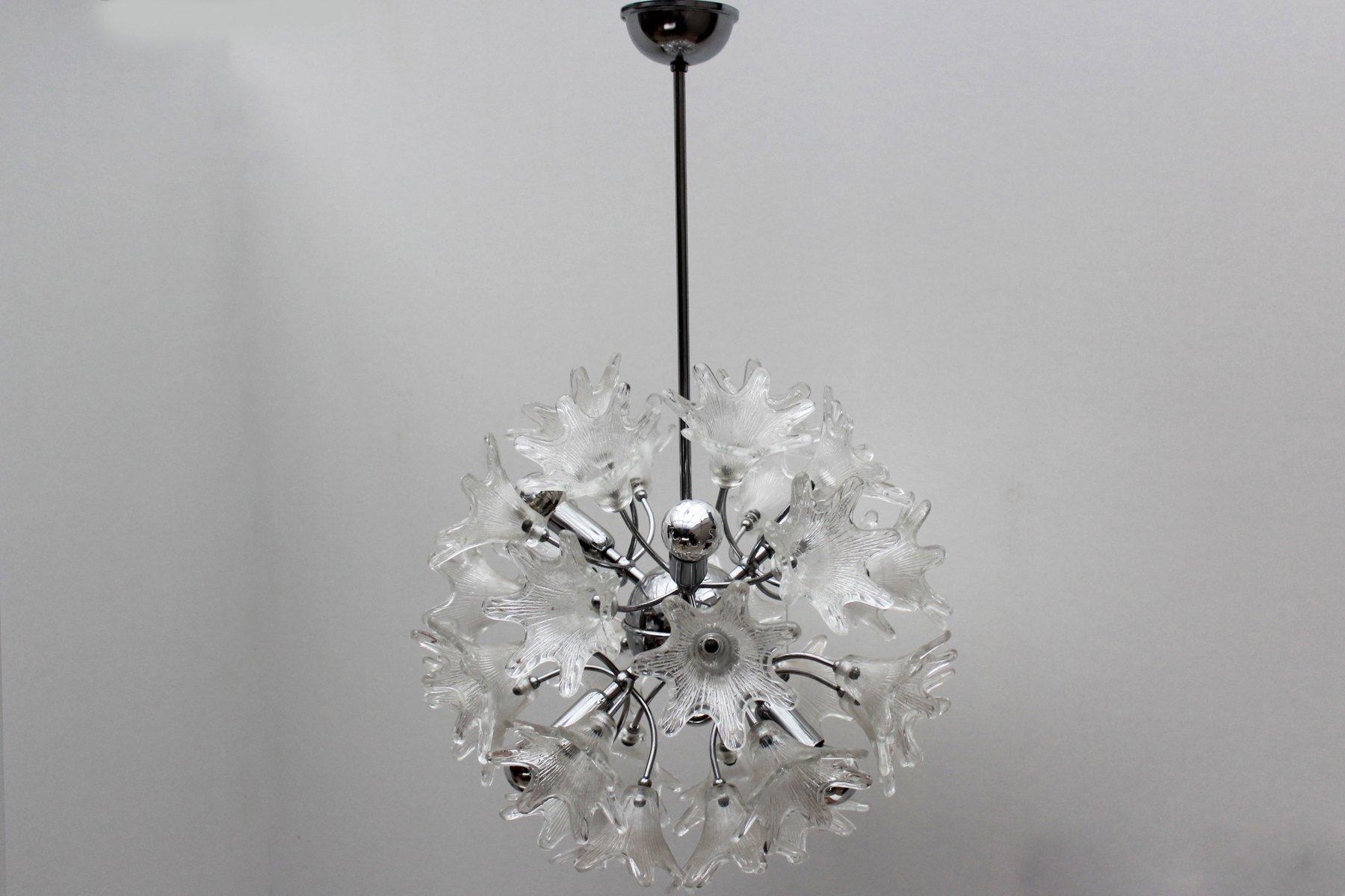 Italienische Mid-Century Murano Glas Sputnik Hängelampe von Paolo Veni...