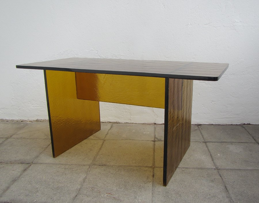 Vintage saffron yellow glass coffee table for sale at pamono for Couchtisch yellow