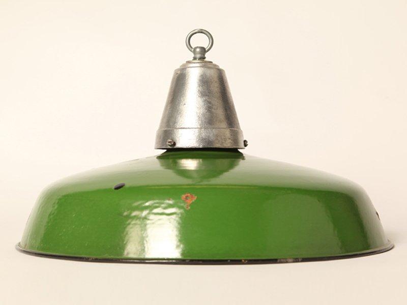 Grüne Emaillierte Vintage Lampe
