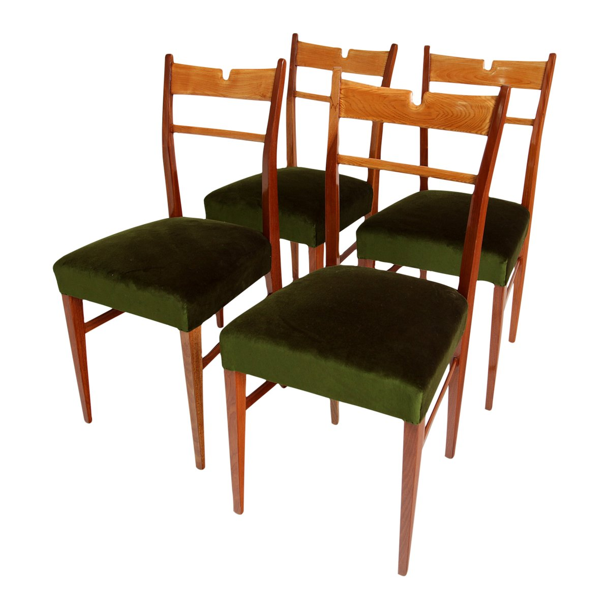 italian wood green velvet dining chairs 1950s set of 4 for sale at pamono. Black Bedroom Furniture Sets. Home Design Ideas