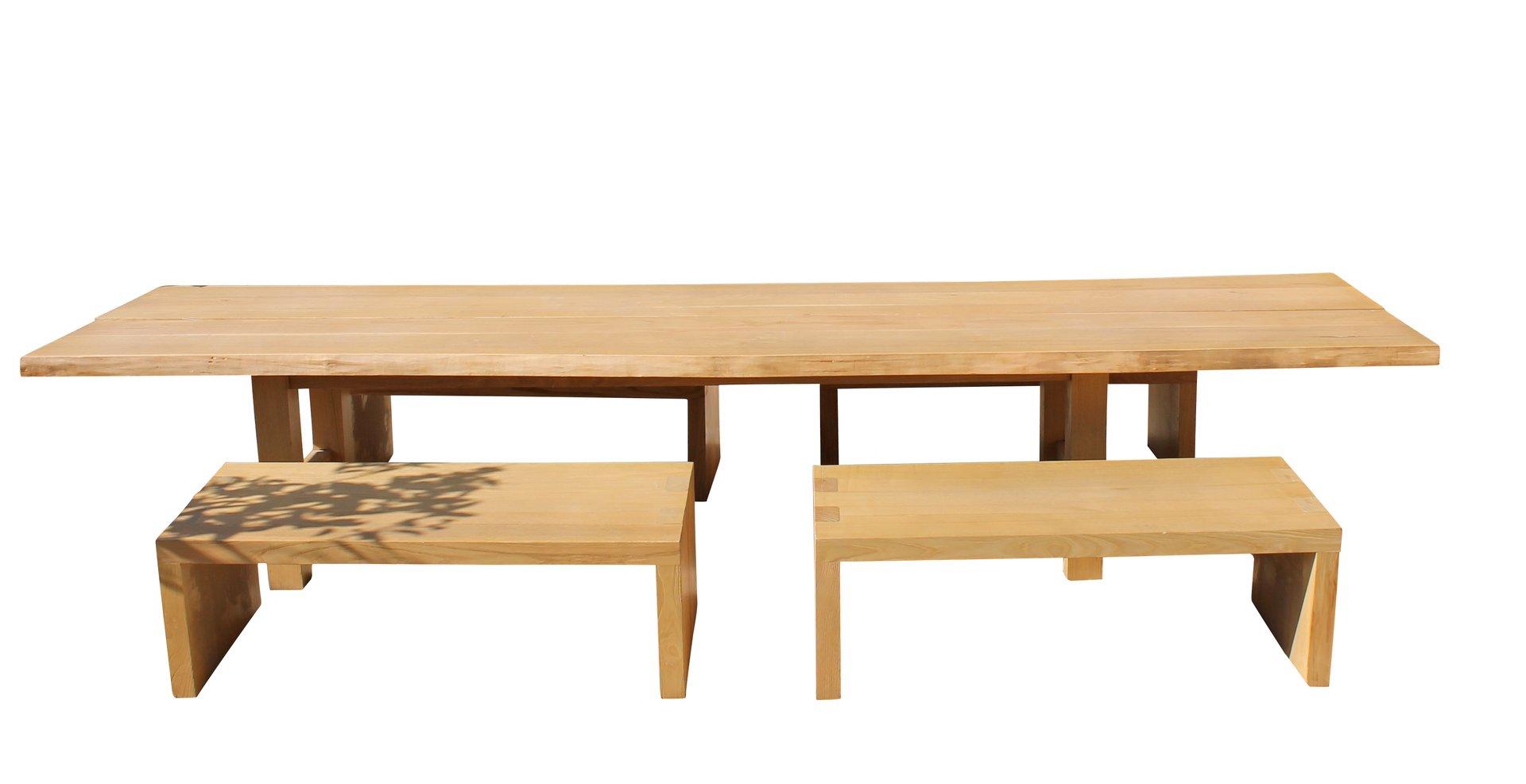 Großer Italienischer Eichenholz Esstisch mit Vier Sitzbänken, 1970er