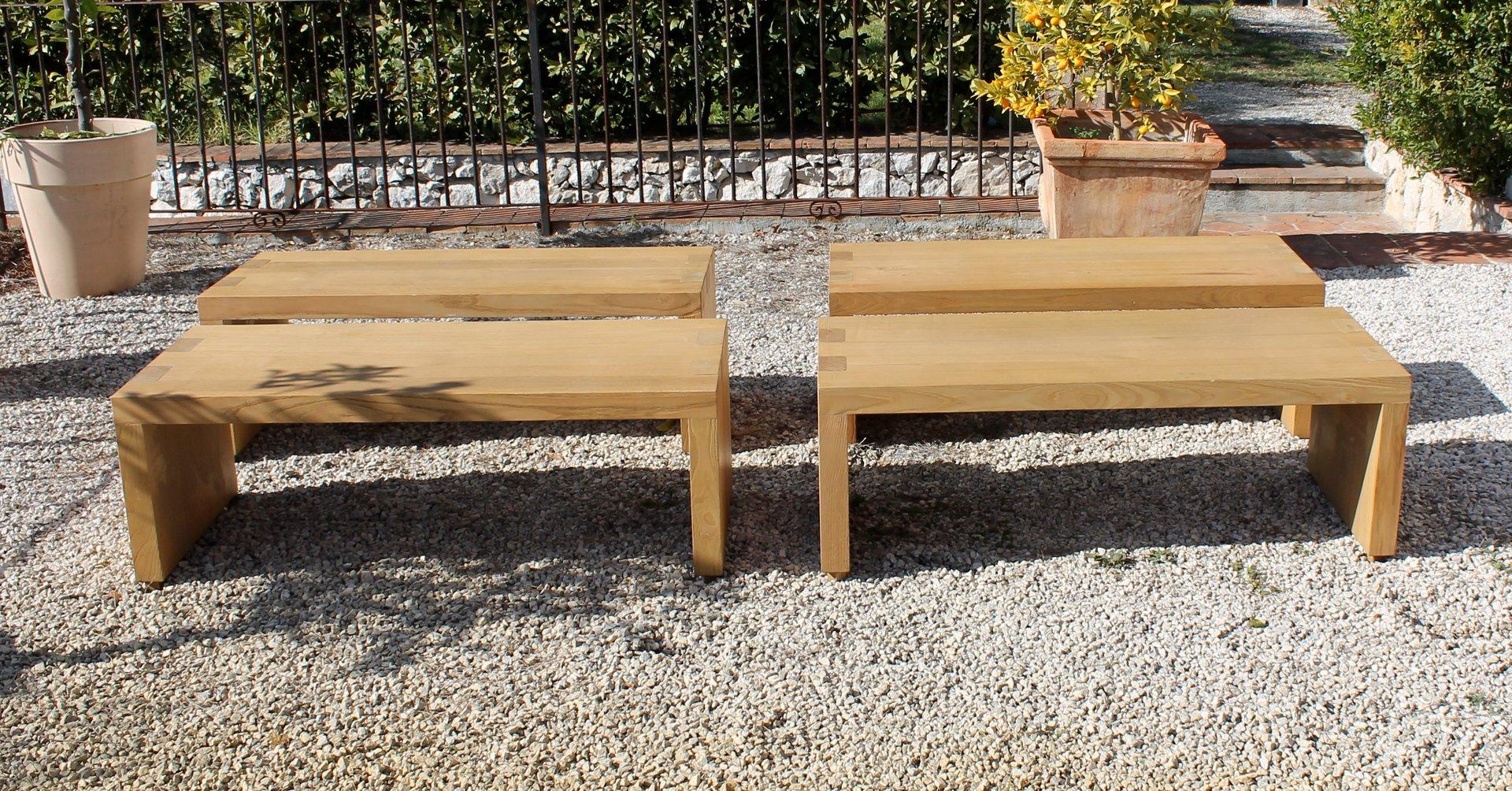 gro er italienischer eichenholz esstisch mit vier sitzb nken 1970er bei pamono kaufen. Black Bedroom Furniture Sets. Home Design Ideas