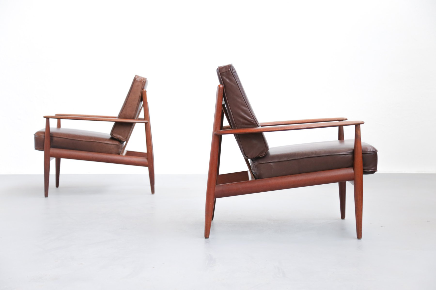 Danish Teak And Leather Armchairs By Grete Jalk For France U0026 Søn, Set Of 2