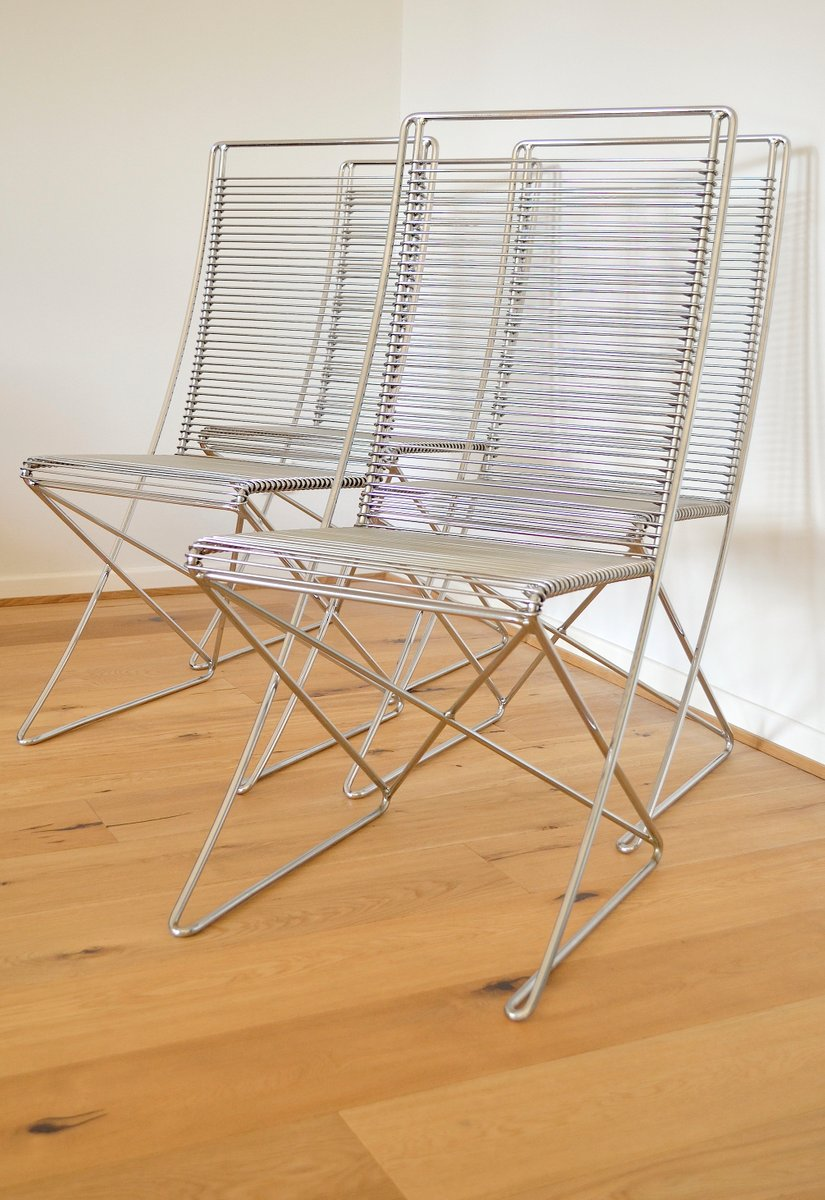 Vintage Metal Chairs By Till Behrens For Meyer Metallmöbel Set Of 4