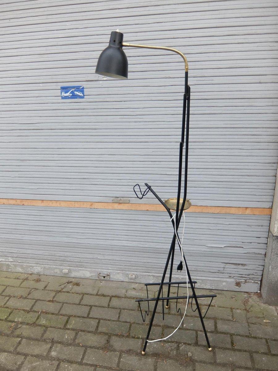 Schwarze Vintage Stehlampe mit Messing von Stilnovo