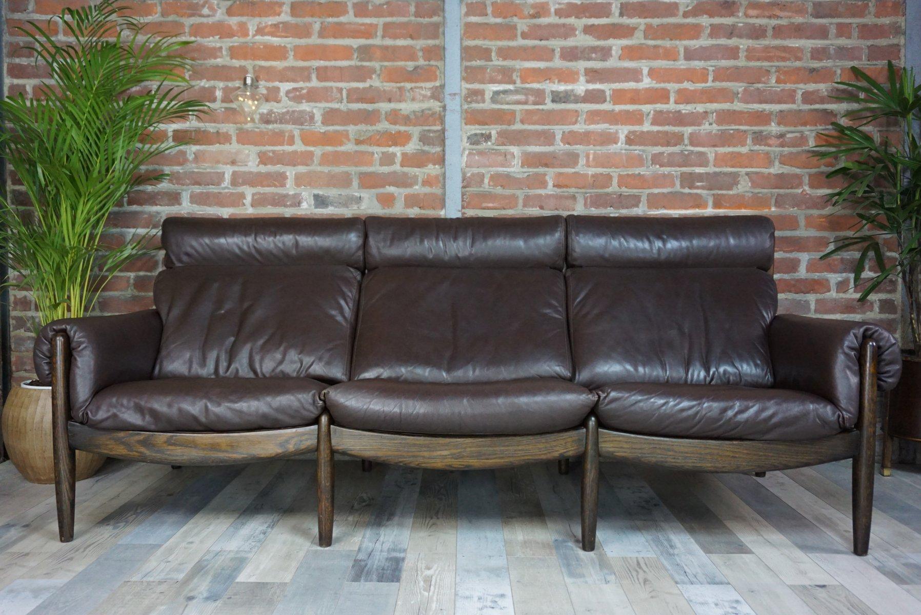 Dänisches 3-Sitzer Ledersofa aus Eiche