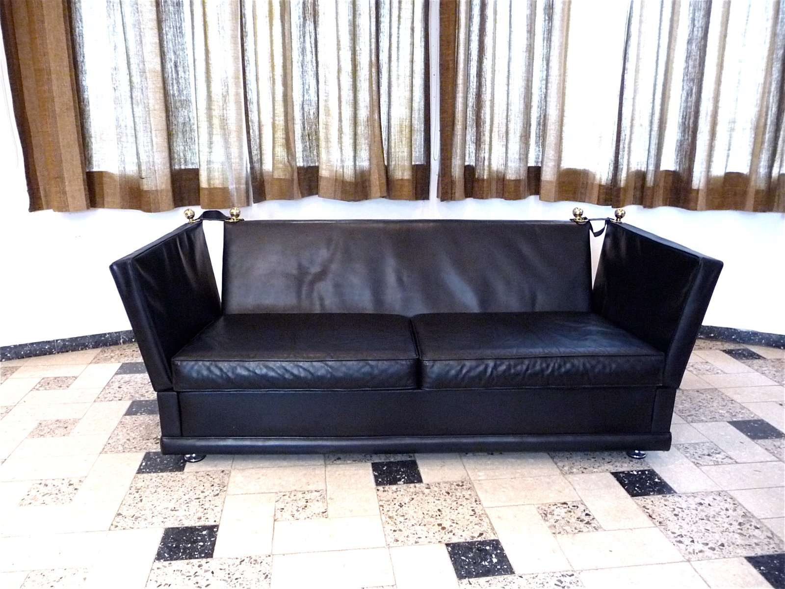 Knole Two Seater Leather Sofa 1960s