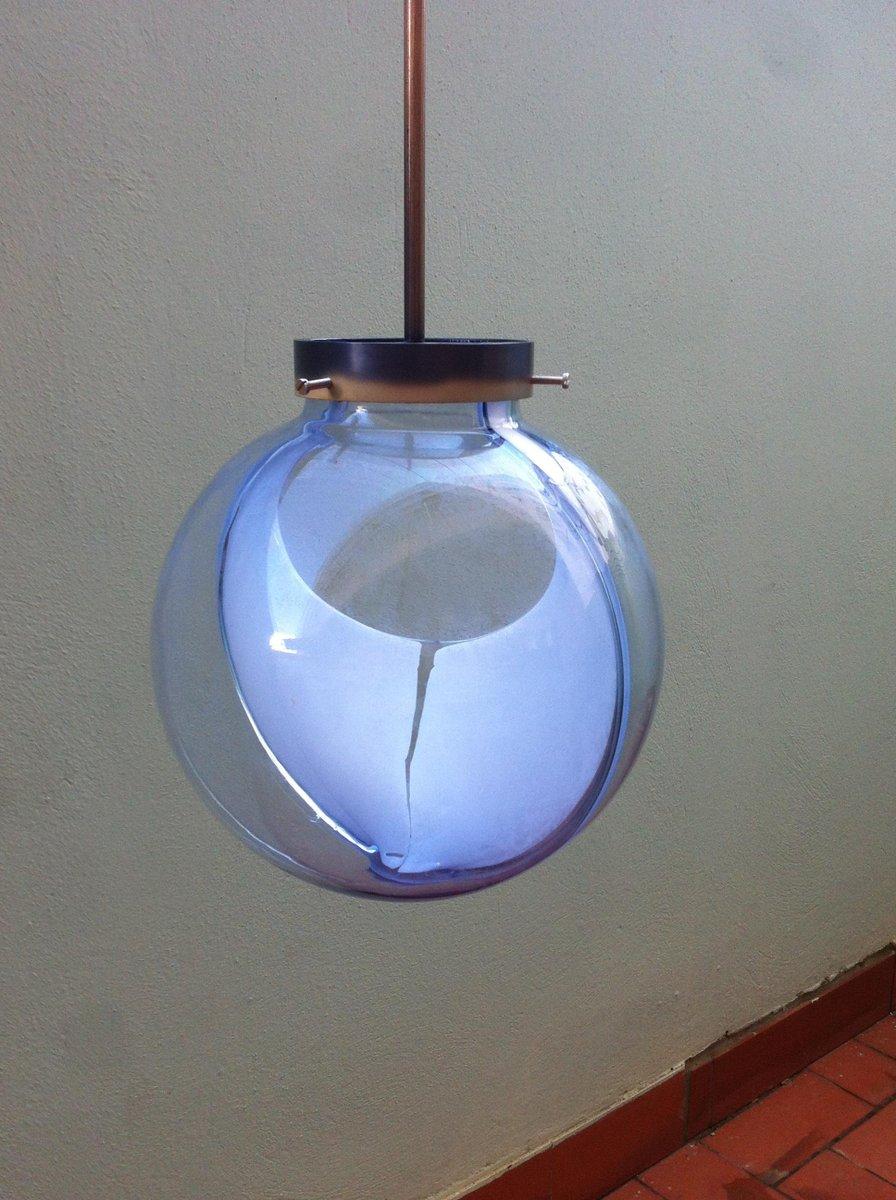Mid-Century Membrane Murano Glas Hängelampe von Toni Zuccheri für Veni...