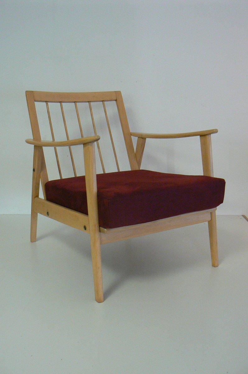 Vintage Buchenholz Armlehnstuhl mit Roten Polstern