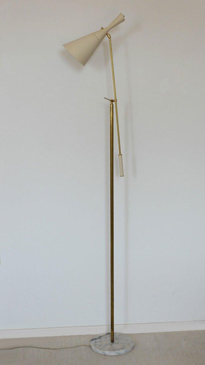 Italienische Elfenbeinfarbene Vintage Stehlampe