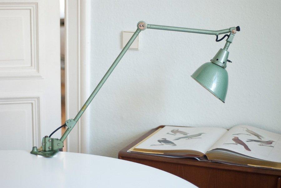 Große Grüne Vintage Midgard Schreibtischlampe v...