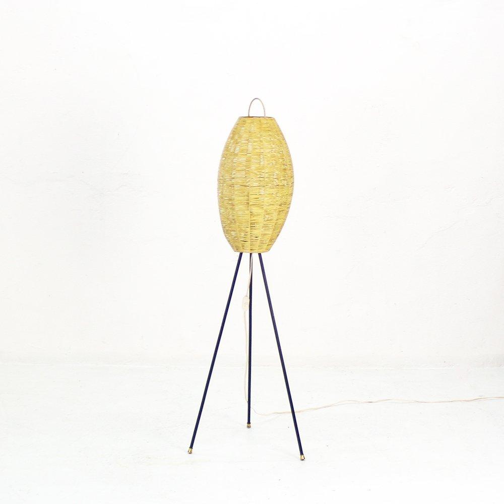 Fesselnde Dreibein Stehlampe Das Beste Von Mit Bastgewebe Schirm, 1950er