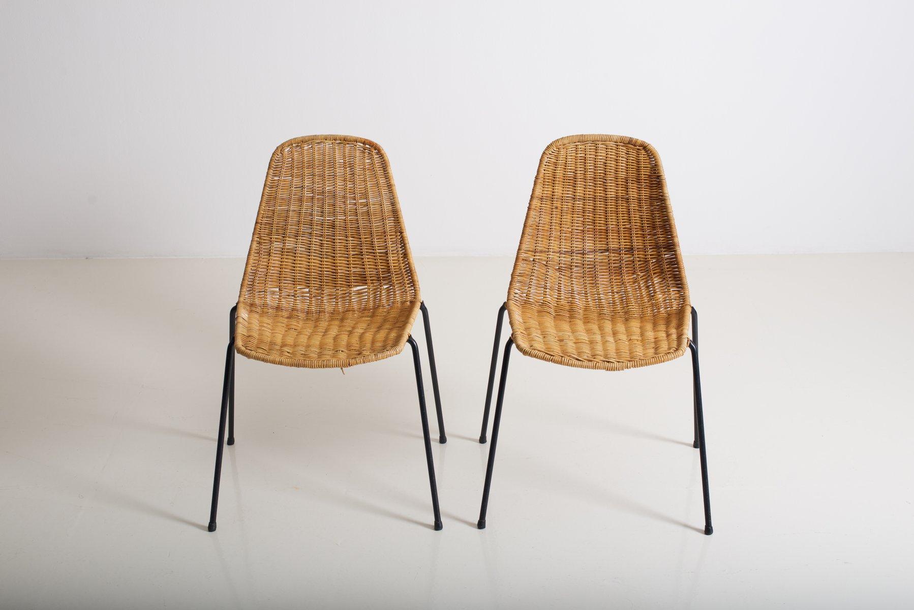 Sedie in vimini di Gian Franco Legler, 1952, set di 2 in vendita su ...