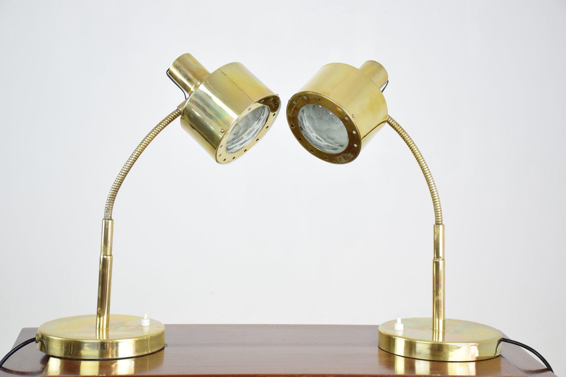 Mid-Century Messing Schreibtischlampen mit Glas in Facettenschliff, 2e...