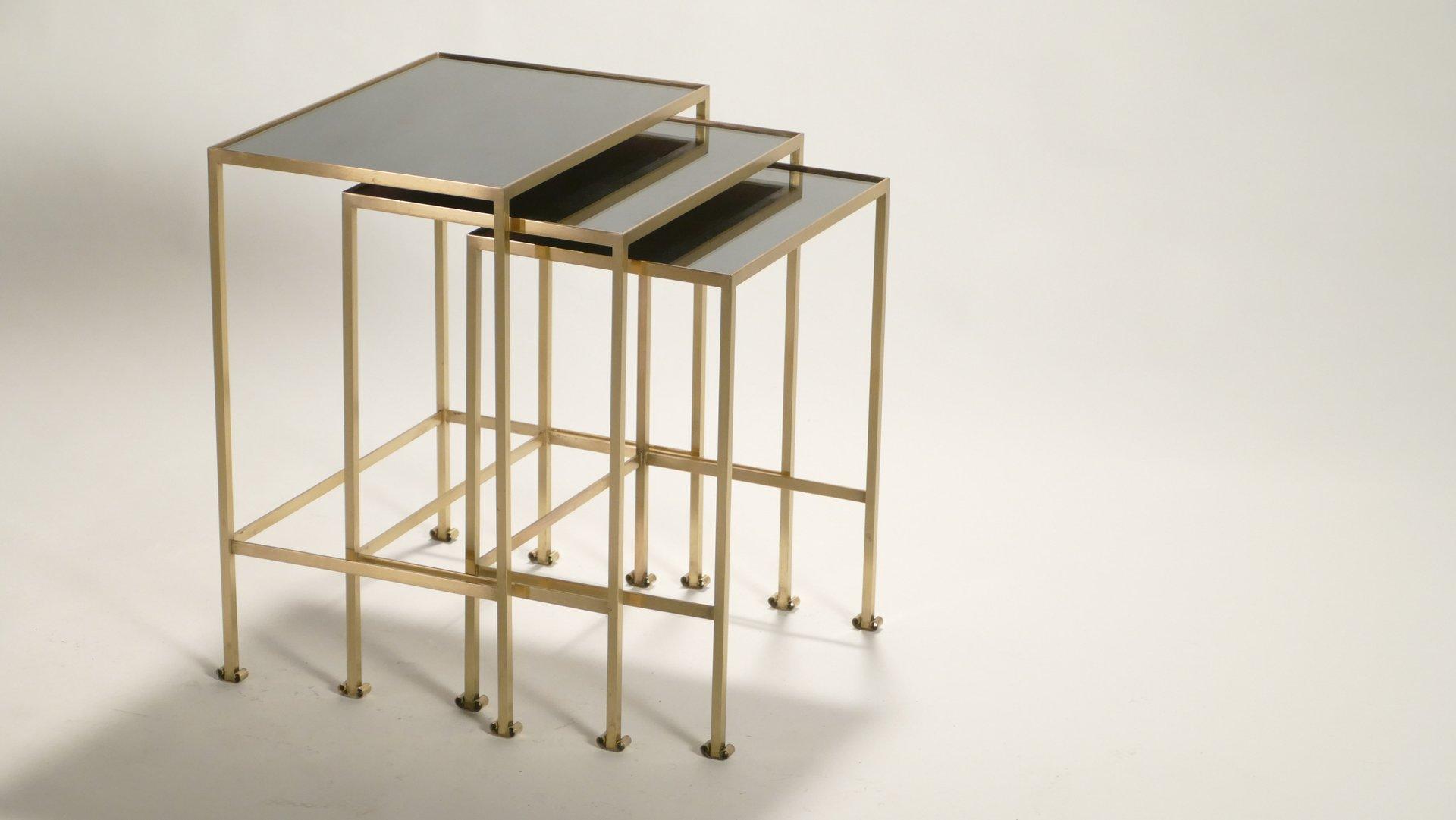 Messing Satztische, 1960er | Wohnzimmer > Tische > Satztische & Sets | Gold | Glas