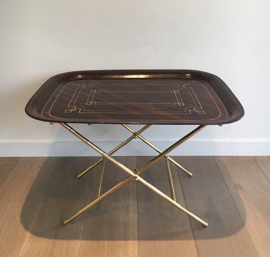 Tisch aus Messing & Lackiertem Blech, 1950er