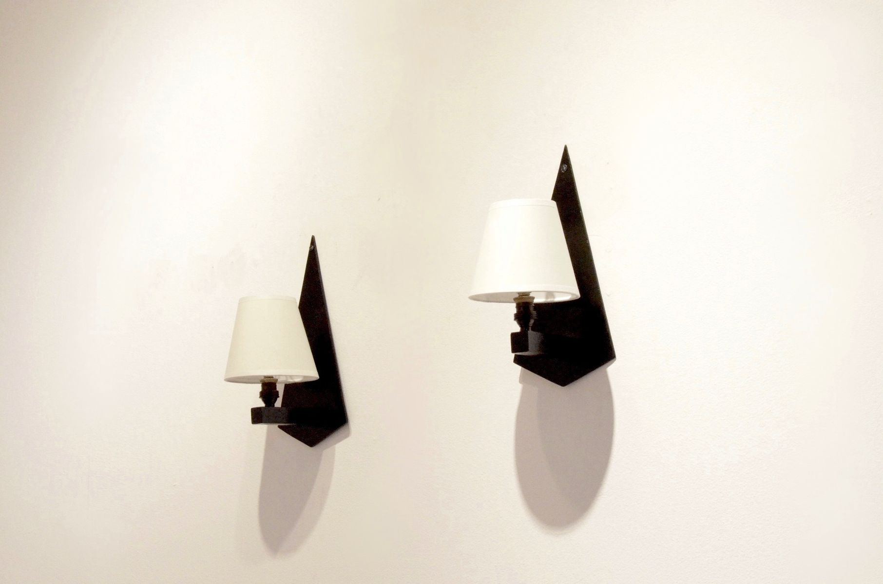 Constructivist Wall Sconces In Black Wood Glass Set Of 2 1930s