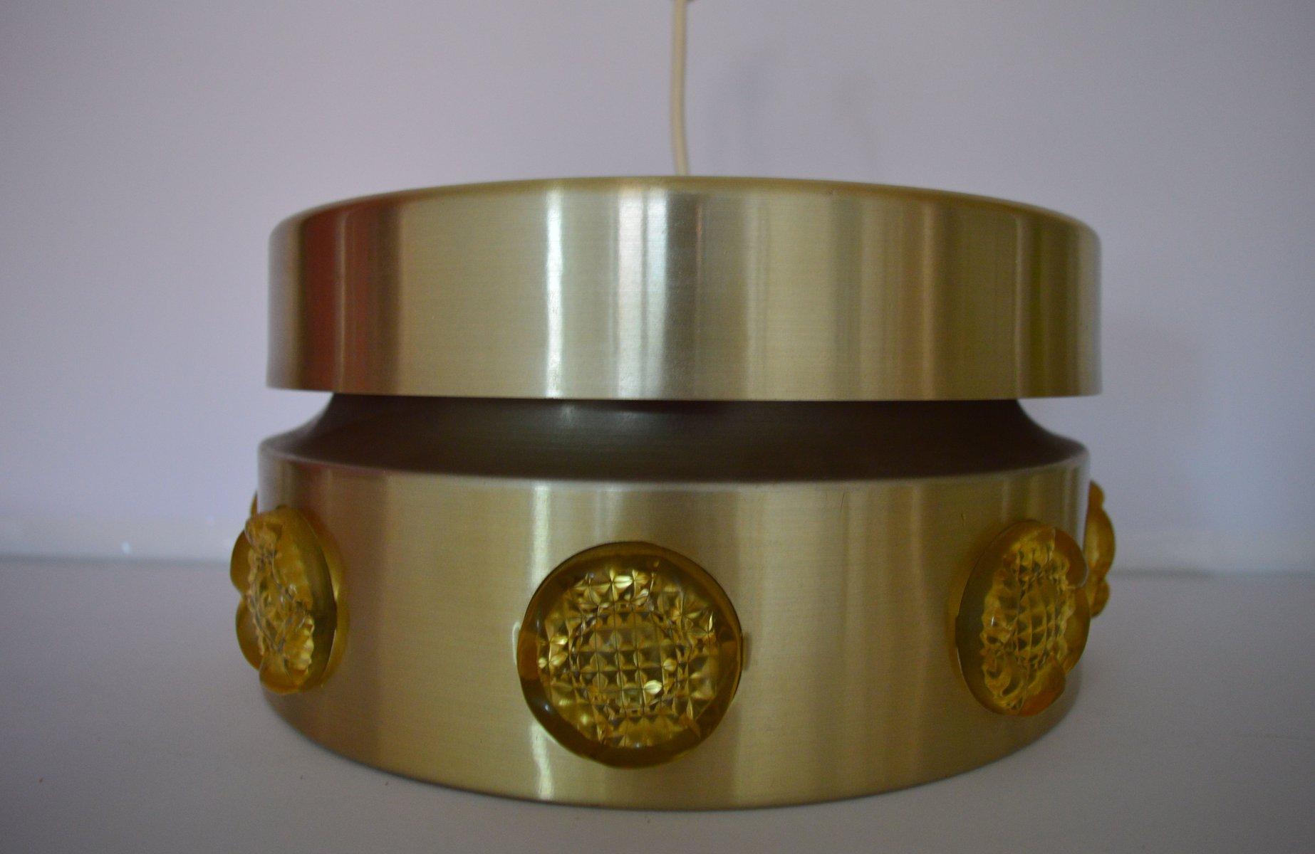 Mid-Century Metall & Kristall Hängelampe von Vitrika