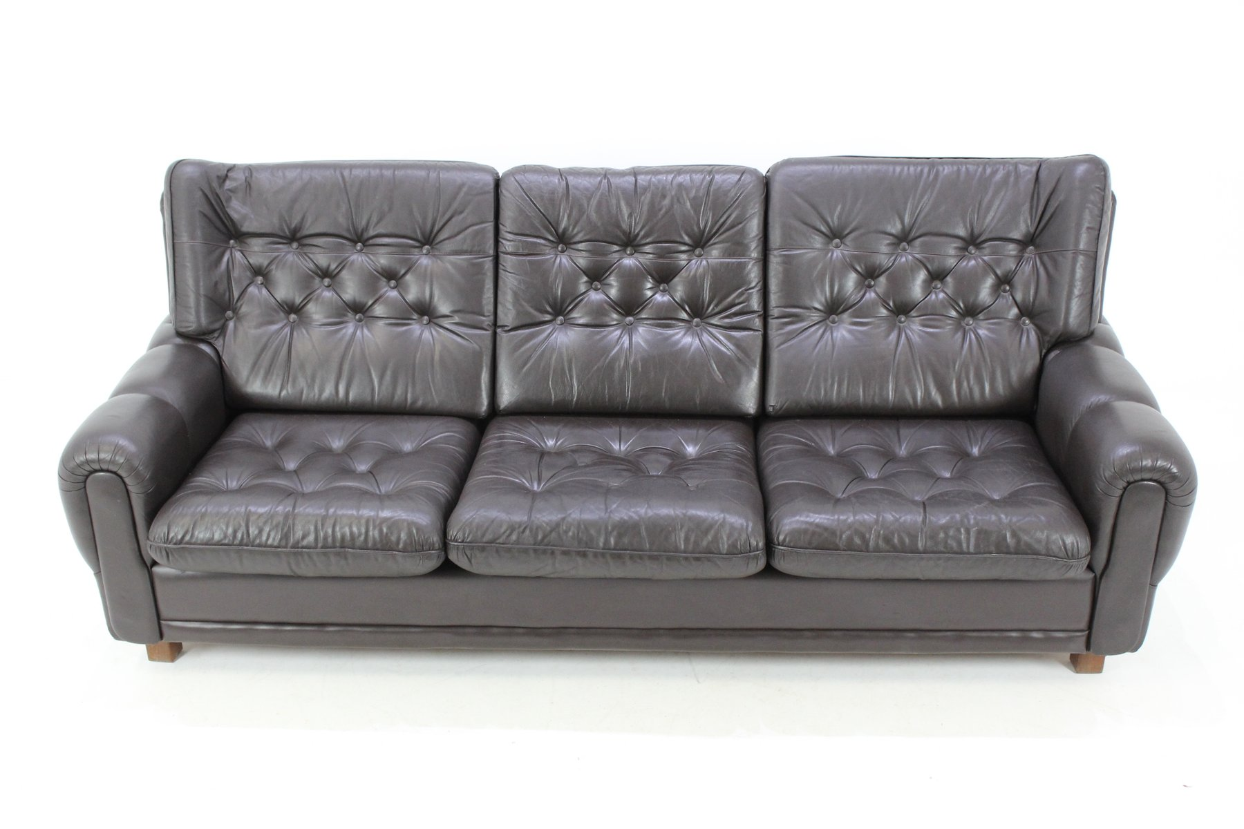 czech leather brown sofa 1970s for sale at pamono. Black Bedroom Furniture Sets. Home Design Ideas
