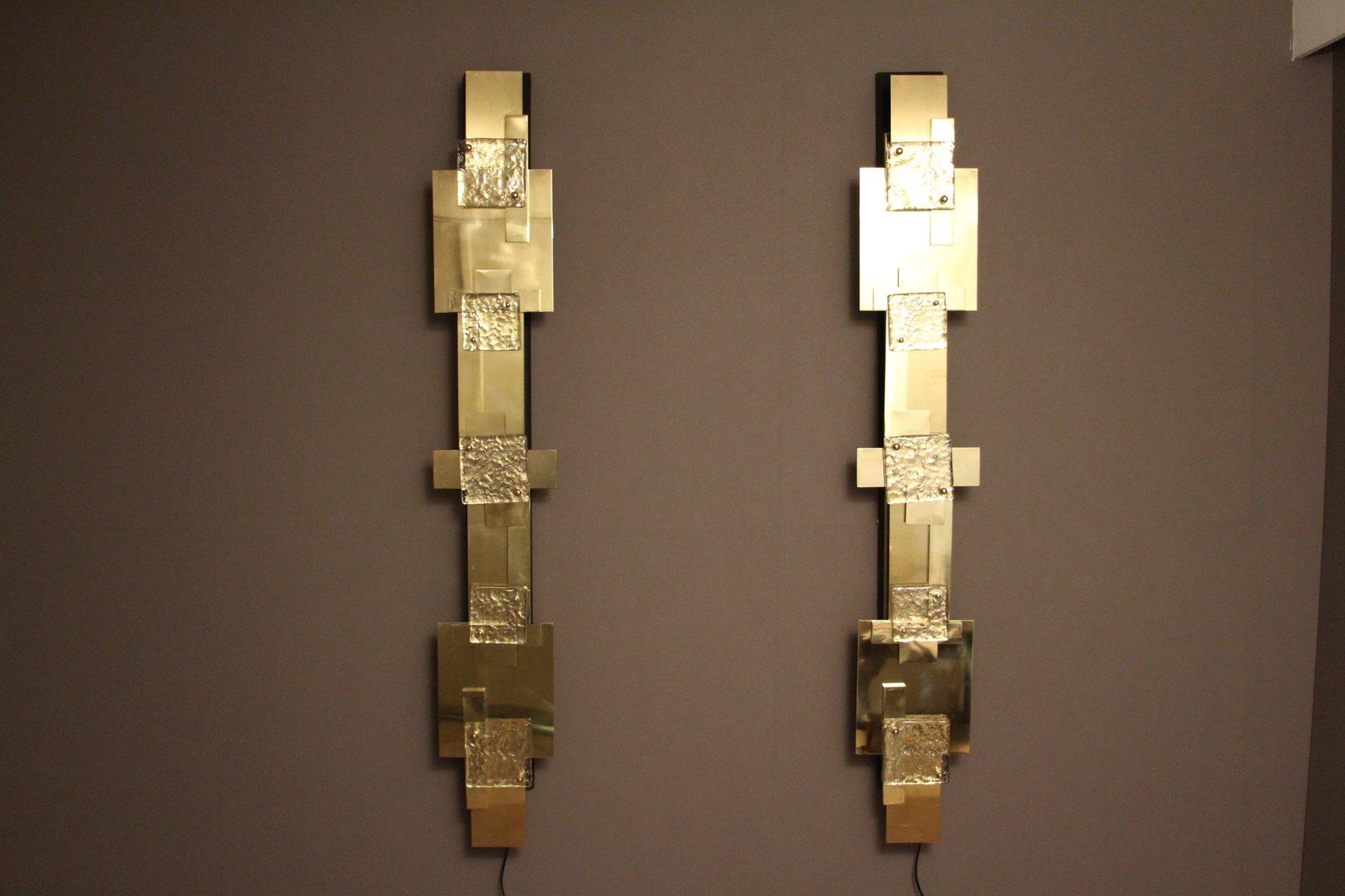 Lange Vintage Wandlampen aus Poliertem Messing, 2er Set