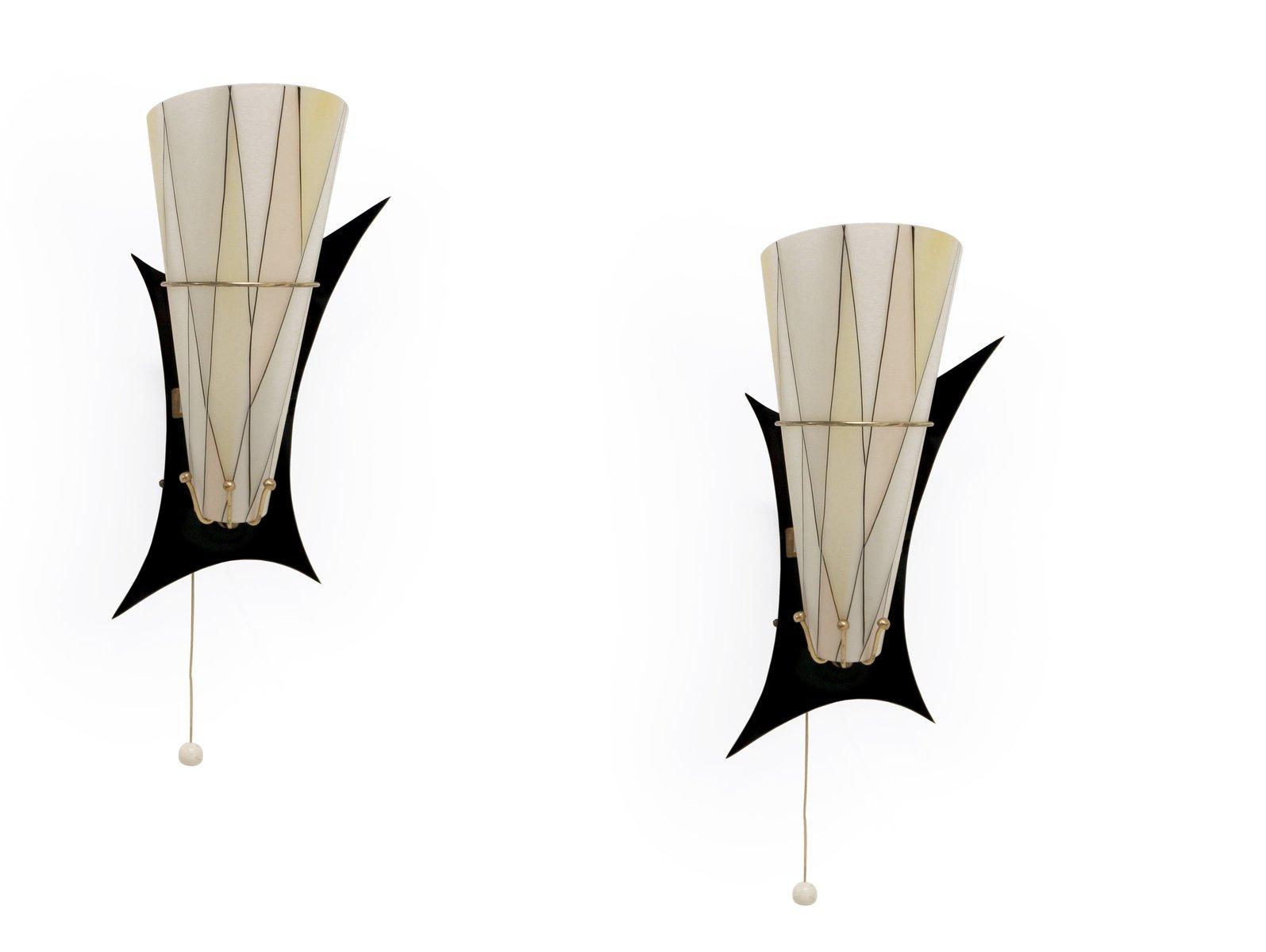 Mid-Century Atomic Wandlampen aus Messing & Glas, 2er Set