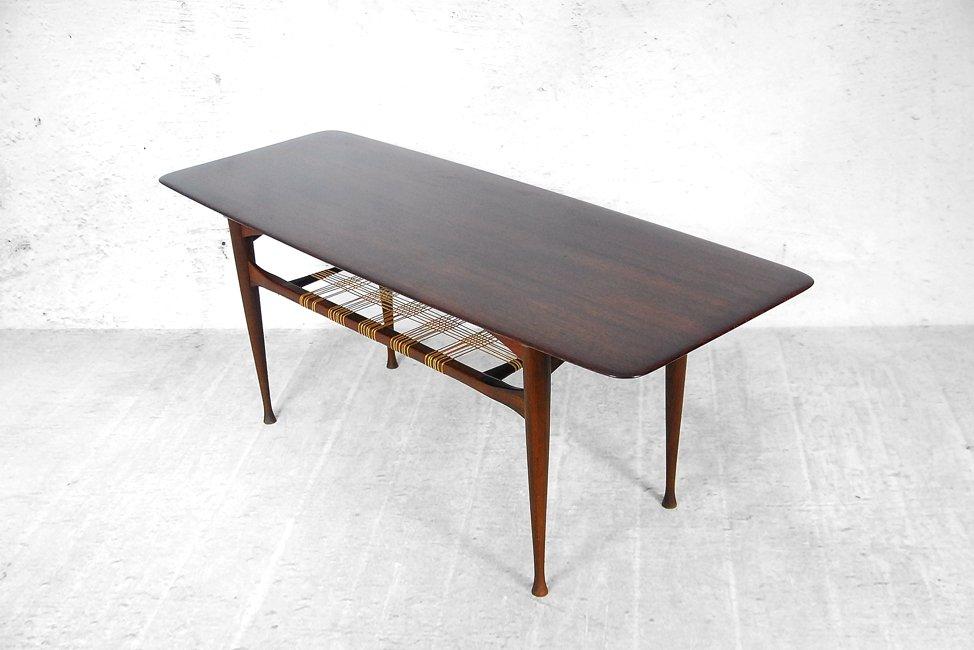 Danish Teak Coffee Table With Cane Shelf 1960s
