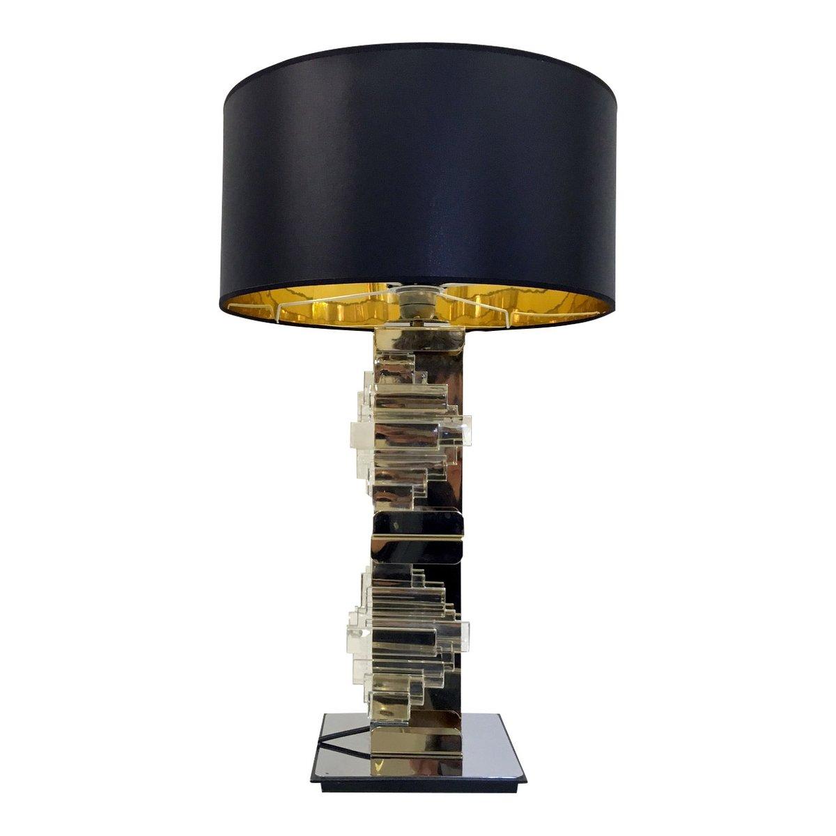 Vintage Messing, Chrom & Glas Tischlampe von Gaetano Sciolari für Scio...