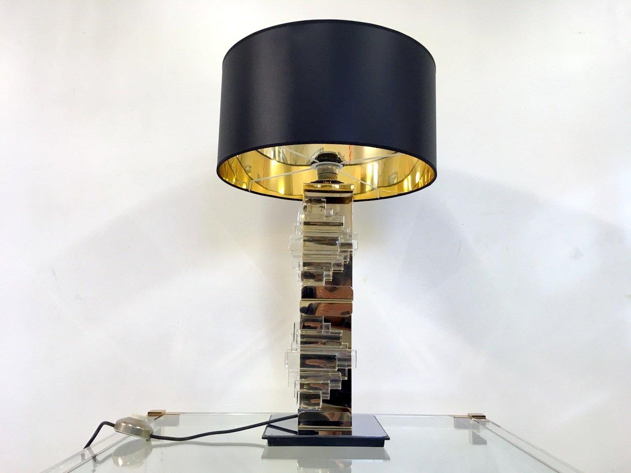 Lampada da tavolo vintage in ottone metallo cromato e vetro di gaetano sciolari per sciolari in - Lampada da tavolo vintage ...