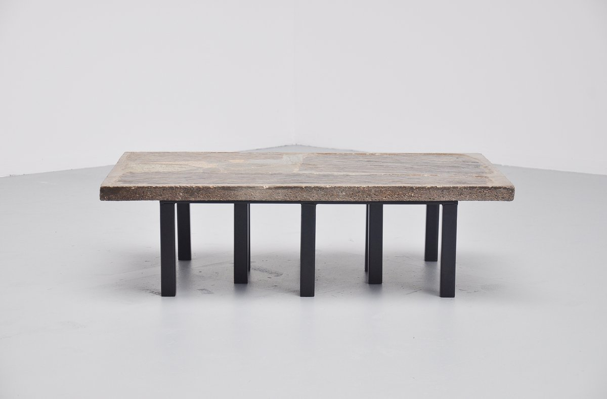 Rectangular Coffee Table In Stone Concrete By Paul Kingma - Rectangular concrete coffee table