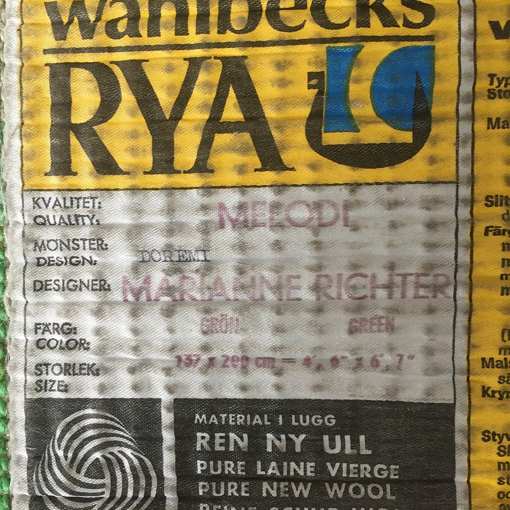 Green Rya Rug By Marianne Richter For Wahlbecks Ab 1960s