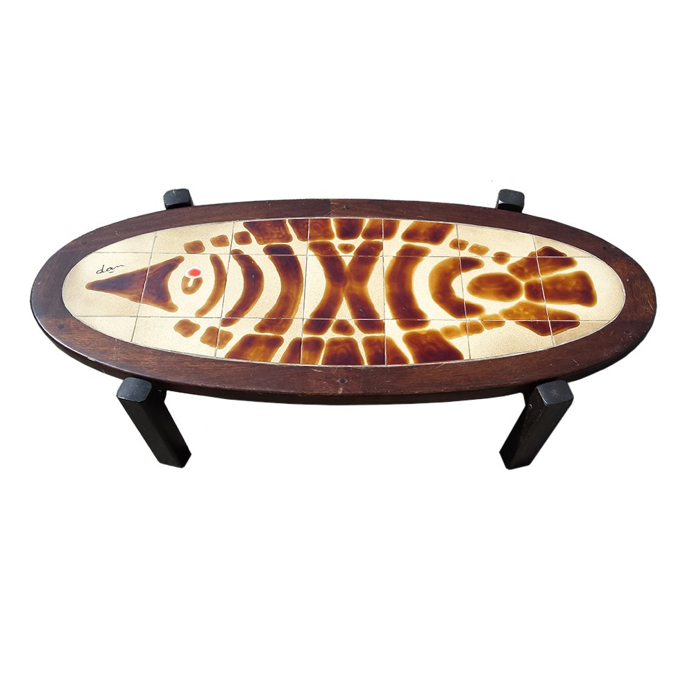 Oval Espresso Coffee Table: Oval Tile Top Coffee Table, 1960s For Sale At Pamono