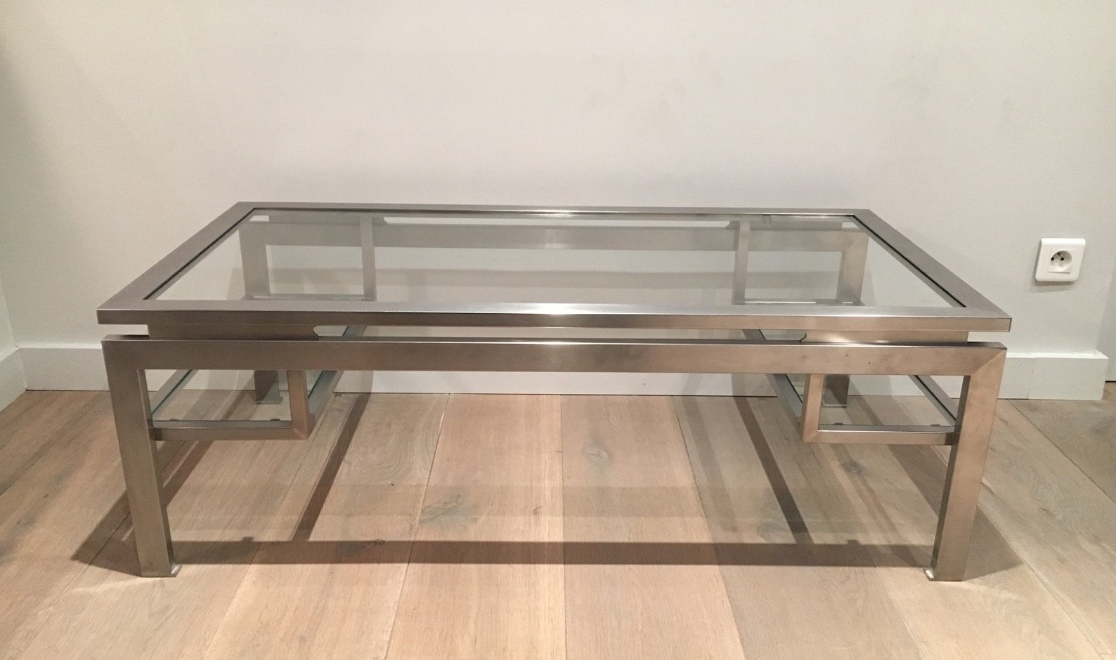 Modernist Brushed Metal Coffee Table By Guy Lefèvre