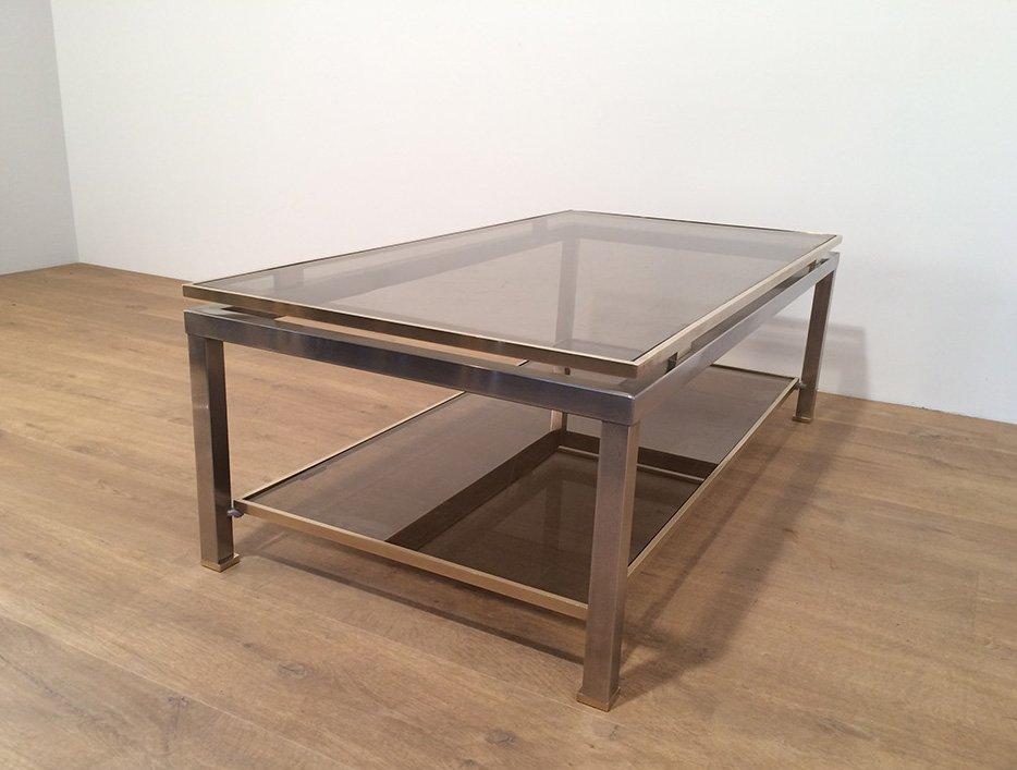 table basse en laiton et en acier bross par guy lef vre en vente sur pamono. Black Bedroom Furniture Sets. Home Design Ideas