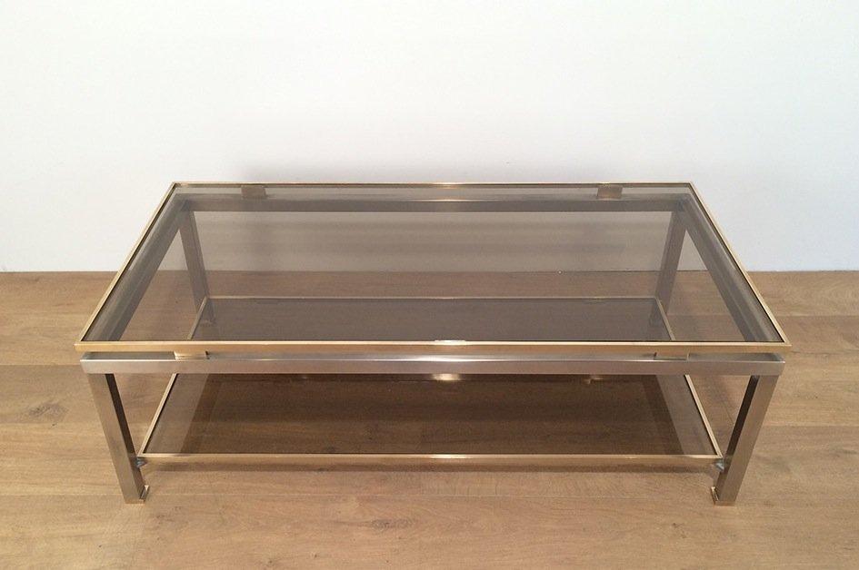 Couchtisch aus Messing & Gebürstetem Stahl von Guy Lefèvre