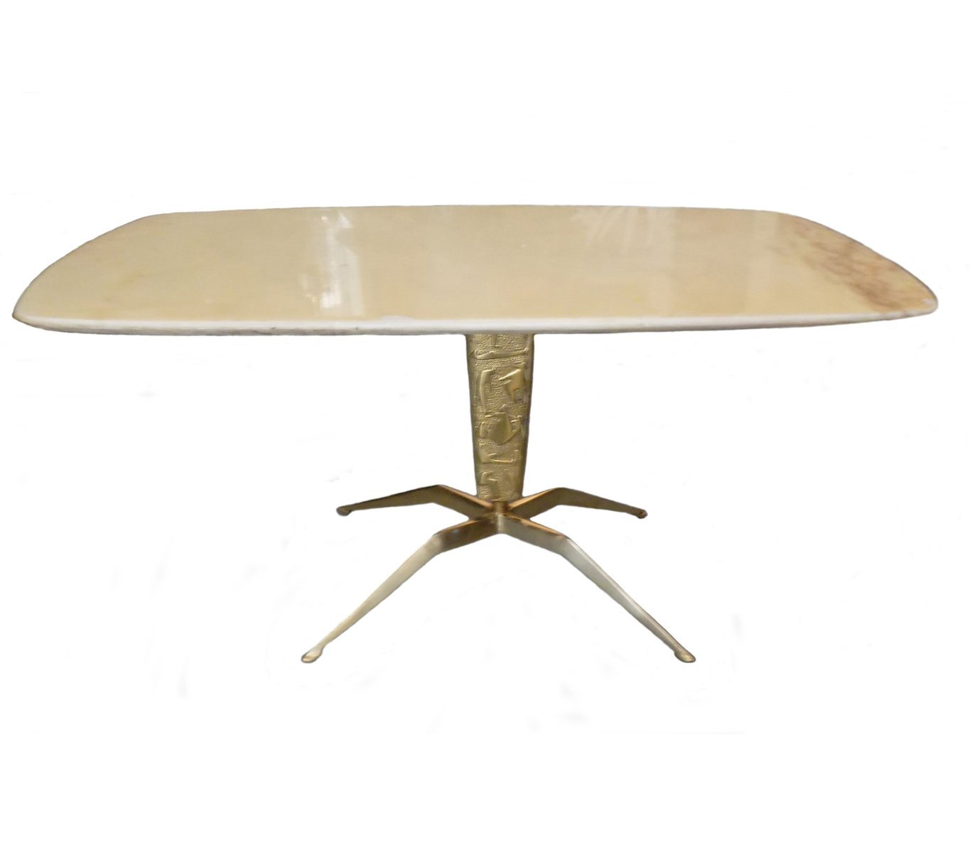 Golden Brass & Marble Coffee Table, 1950s For Sale At Pamono