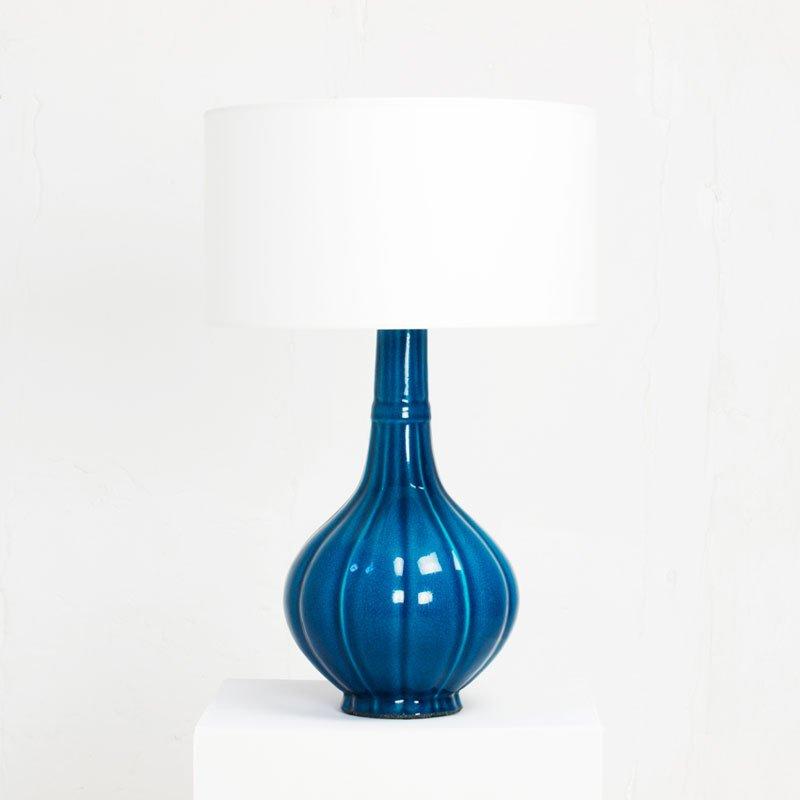 Blaue Keramik Tischlampe von Pol Chambost, 1972
