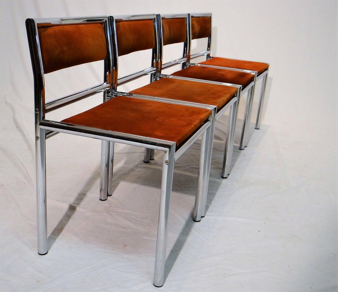 mid century esszimmerst hle aus verchromten rohrgestell leder 4er set bei pamono kaufen. Black Bedroom Furniture Sets. Home Design Ideas