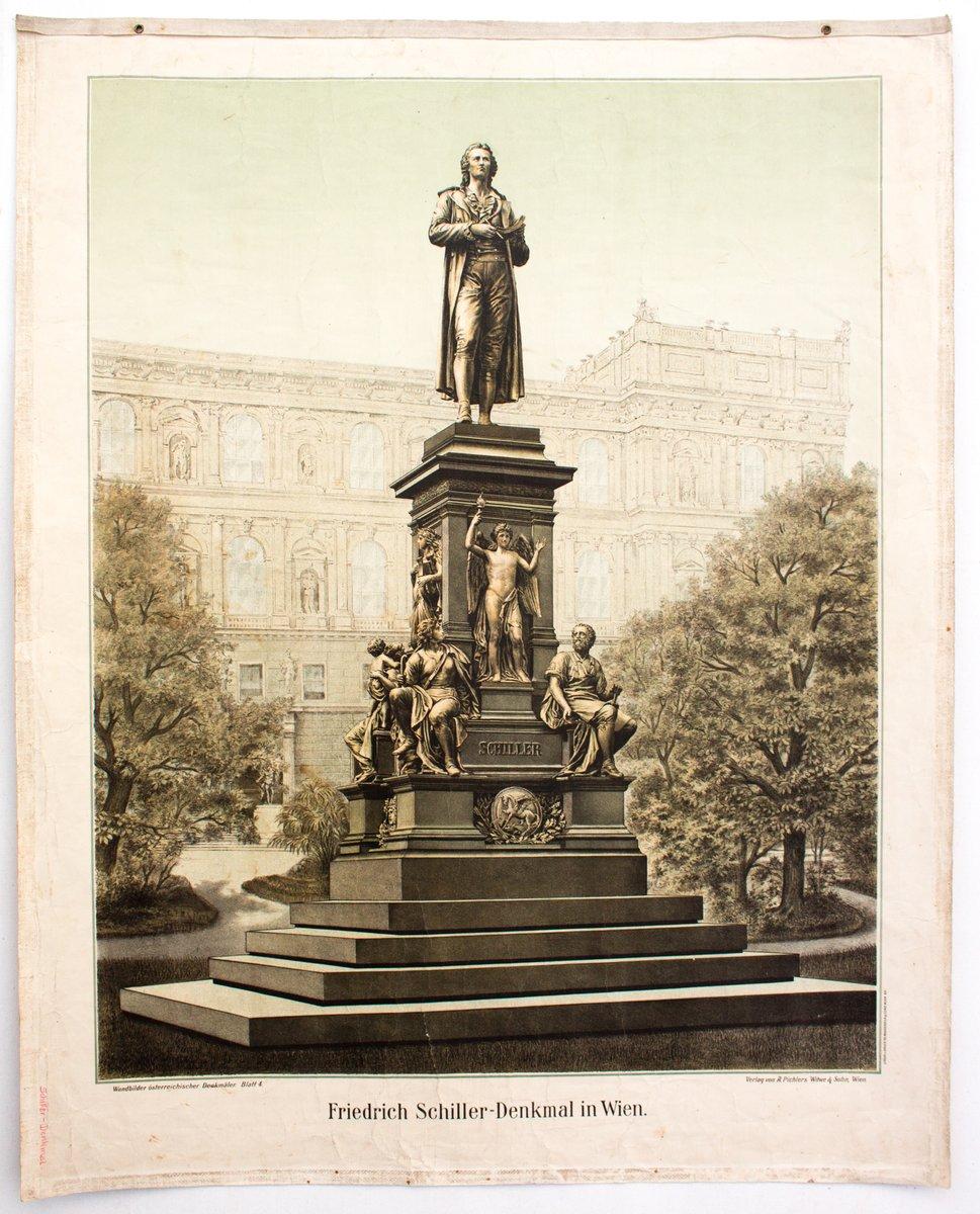 Wandkarte Depicting the Friedrich Schiller Monument in Vienna, 1899 ...