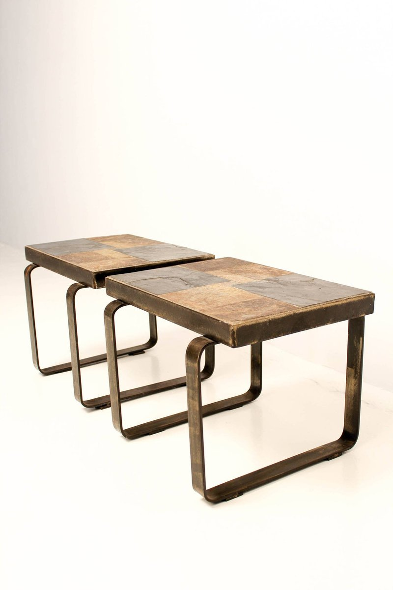 tables d 39 appoint vintage brutalistes set de 2 en vente sur pamono. Black Bedroom Furniture Sets. Home Design Ideas