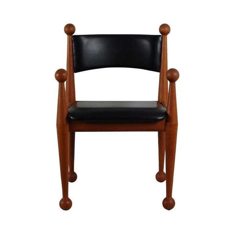 d nische mid century esszimmerst hle aus massivem teak leder von cado 6er set bei pamono kaufen. Black Bedroom Furniture Sets. Home Design Ideas