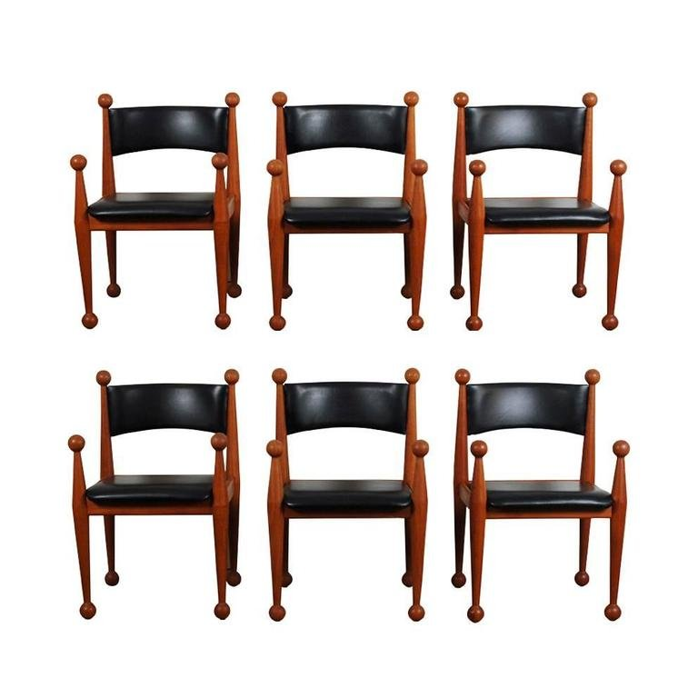 Mid Century Danish Dining Chairs In Solid Teak And Leather From Cado, Set  Of 6