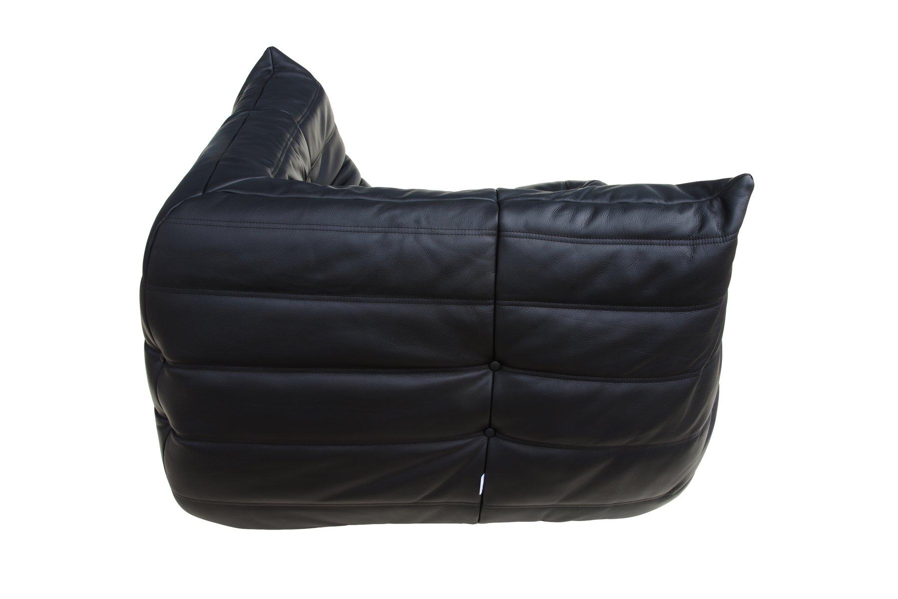 set de canap togo noir en cuir par michel ducaroy pour ligne roset 1974 en vente sur pamono. Black Bedroom Furniture Sets. Home Design Ideas