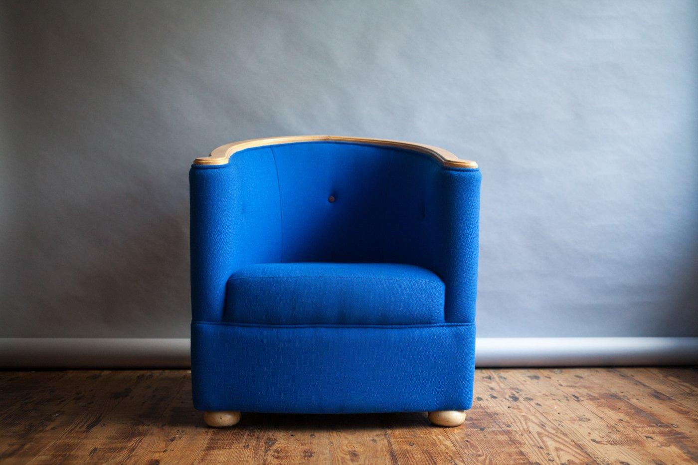Kobaltblauer Tub Sessel, 1980er