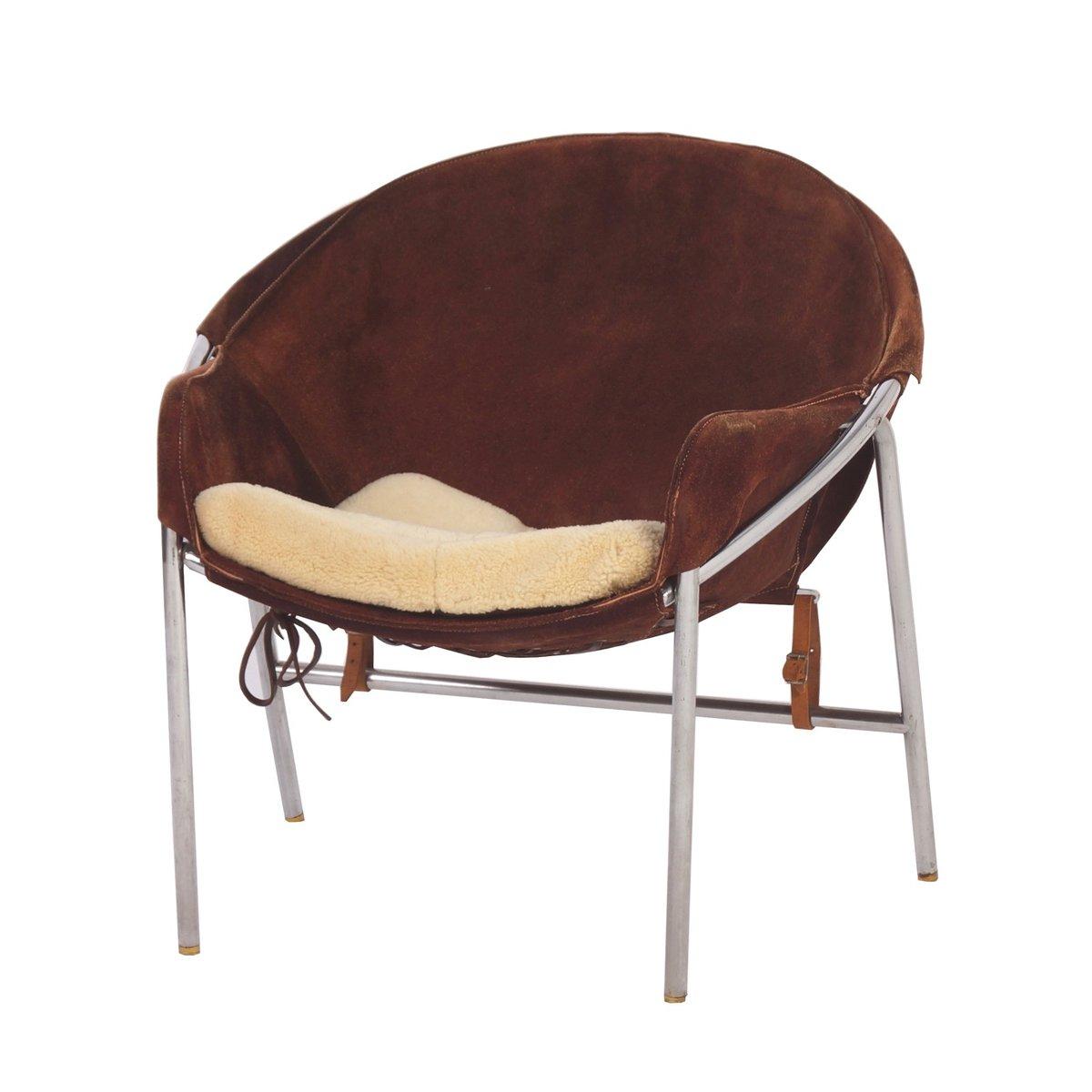 Danish Dark Brown Suede Sling Chair By Erik Jorgensen For Bovirke 1950s
