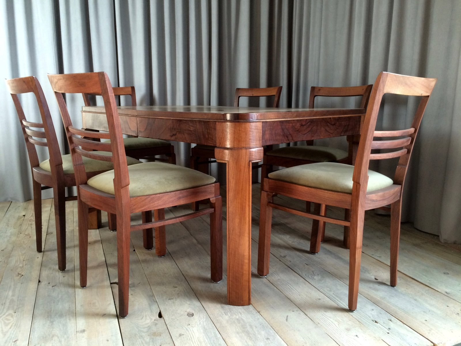 French dining set with 7 chairs 1920s
