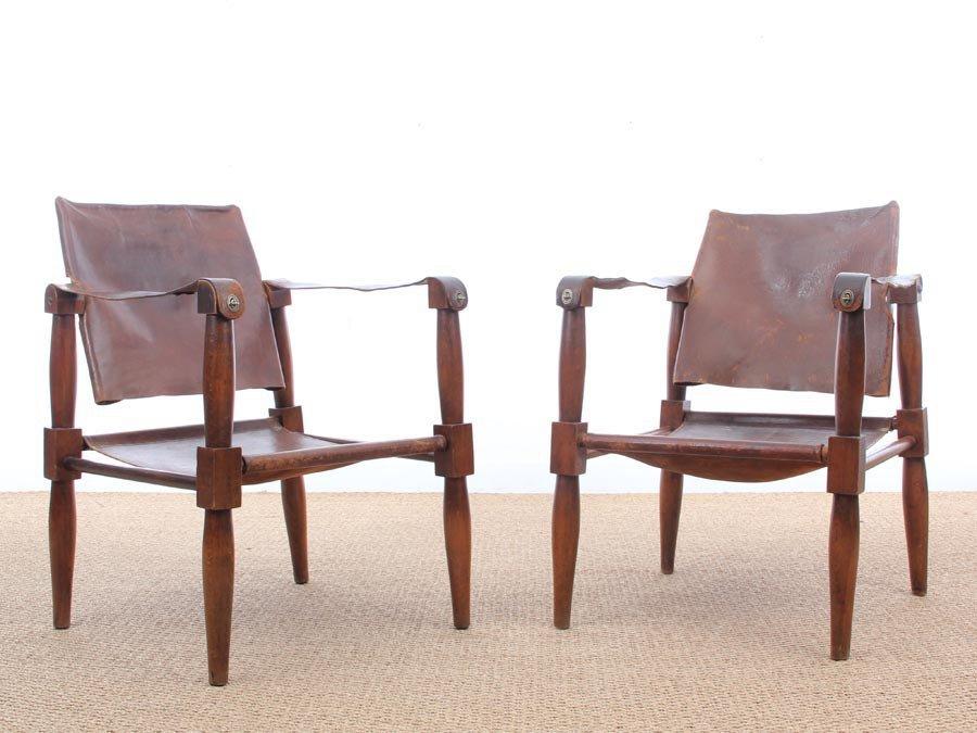Safari Chairs In Beech, 1940s, Set Of 2