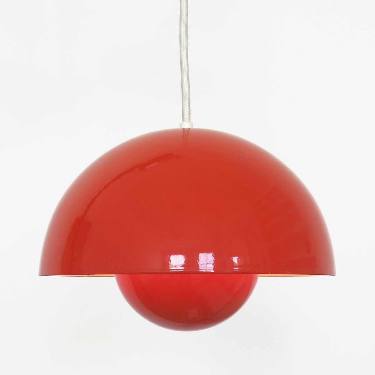 Suspension luminaire rouge en forme de pot de fleur par verner panton pour louis poulsen 1960s - Suspension pot de fleur ...