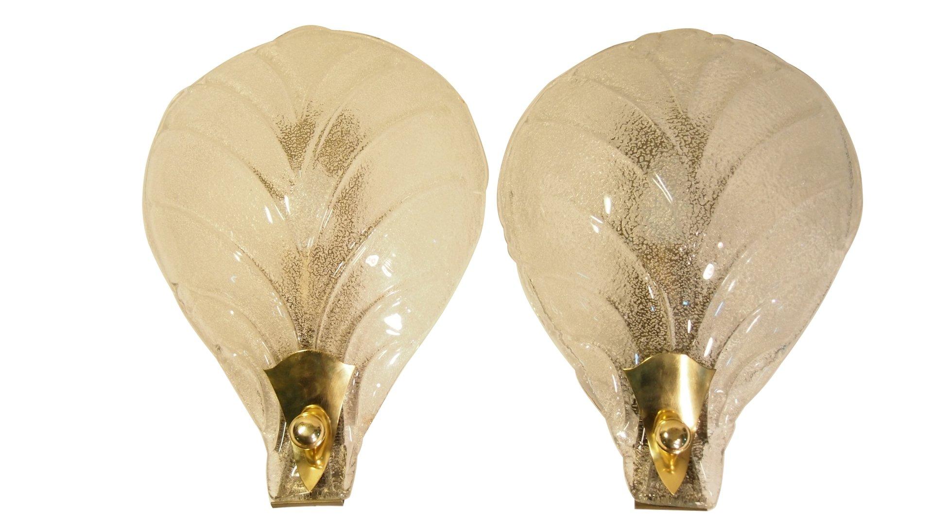 Mid-Century Wandlampe mit Texturierten Muranoglas Blättern von Ercole ...